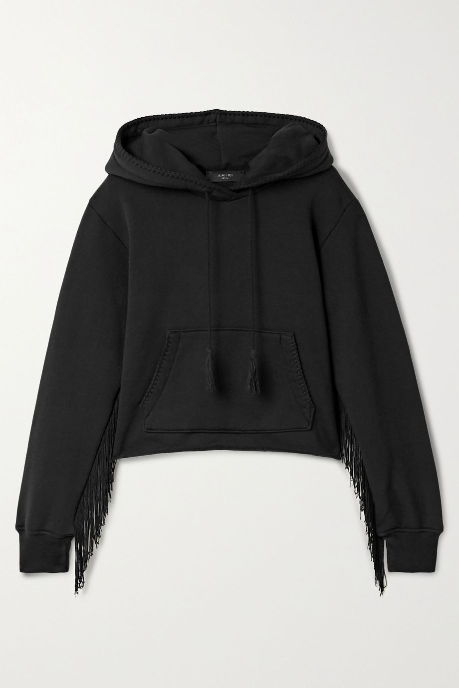 AMIRI Fringed cotton-terry hoodie