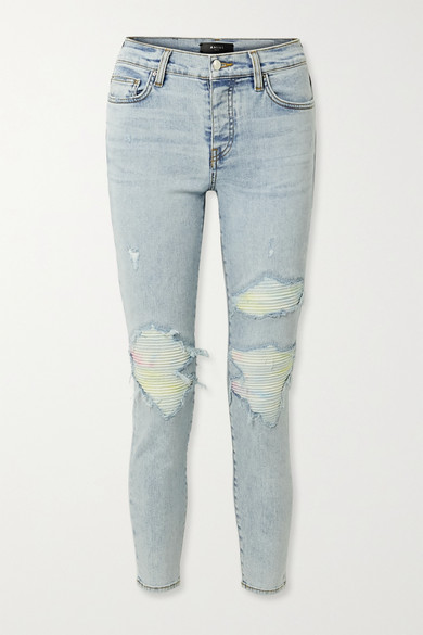 Mx1 Jersey-paneled Distressed High-rise Skinny Jeans In Light Denim