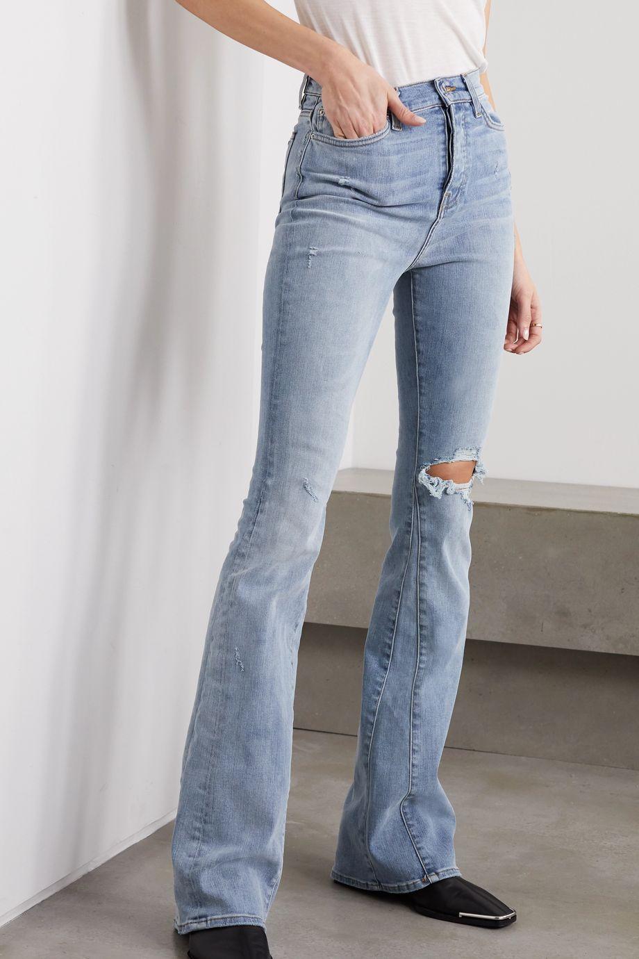 AMIRI Distressed stretch-denim high-rise flared jeans