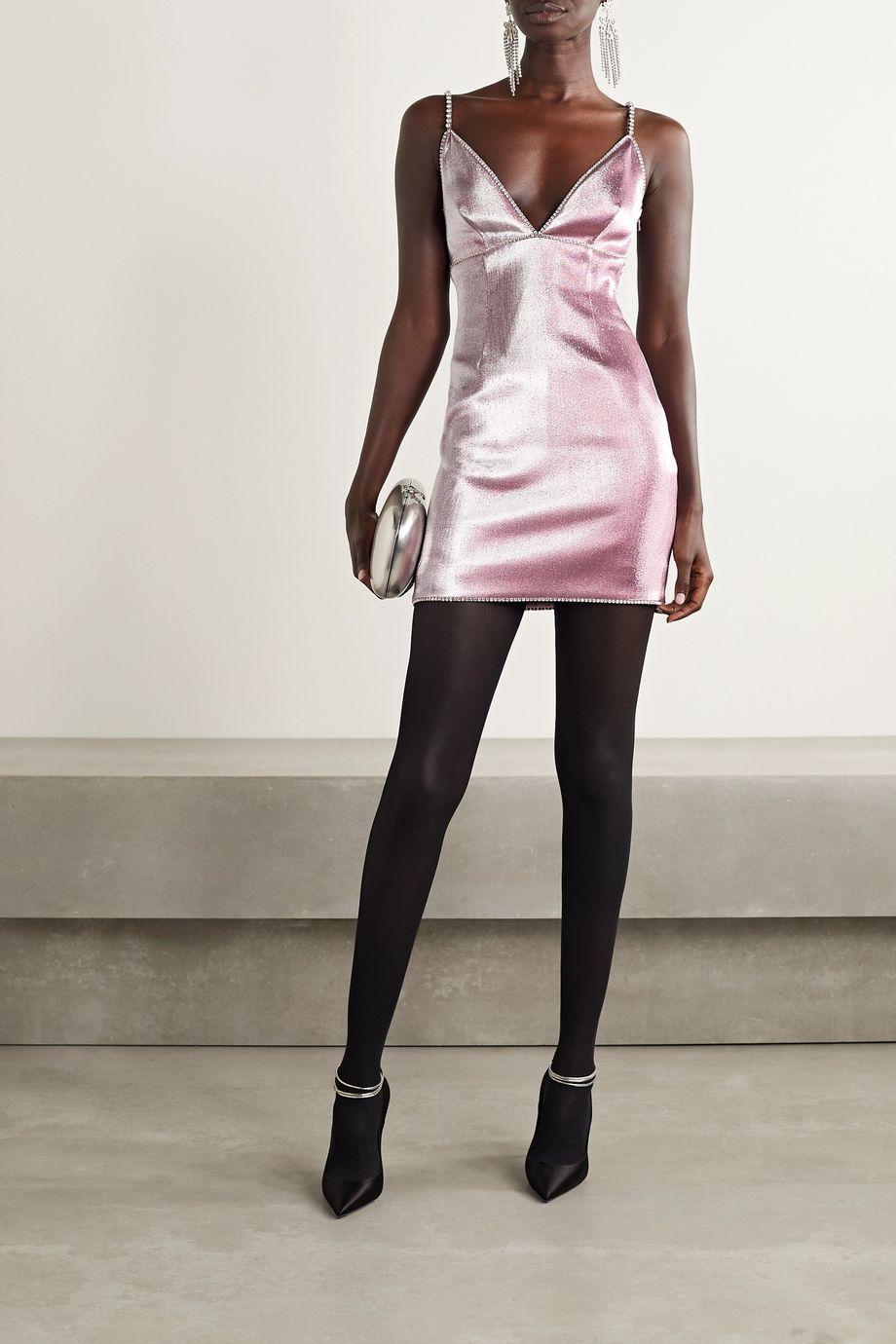 AREA Crystal-embellished Lurex mini dress