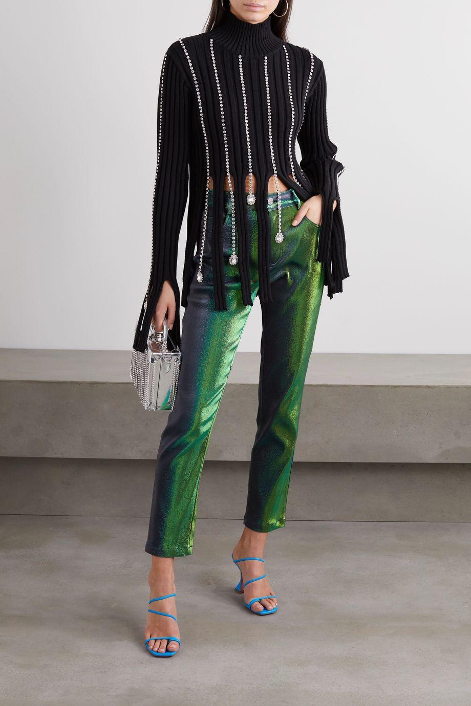 AREA Crystal-embellished ribbed cotton-blend turtleneck sweater