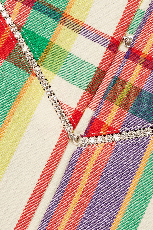 AREA Mini-robe en laine mélangée à carreaux et à cristaux