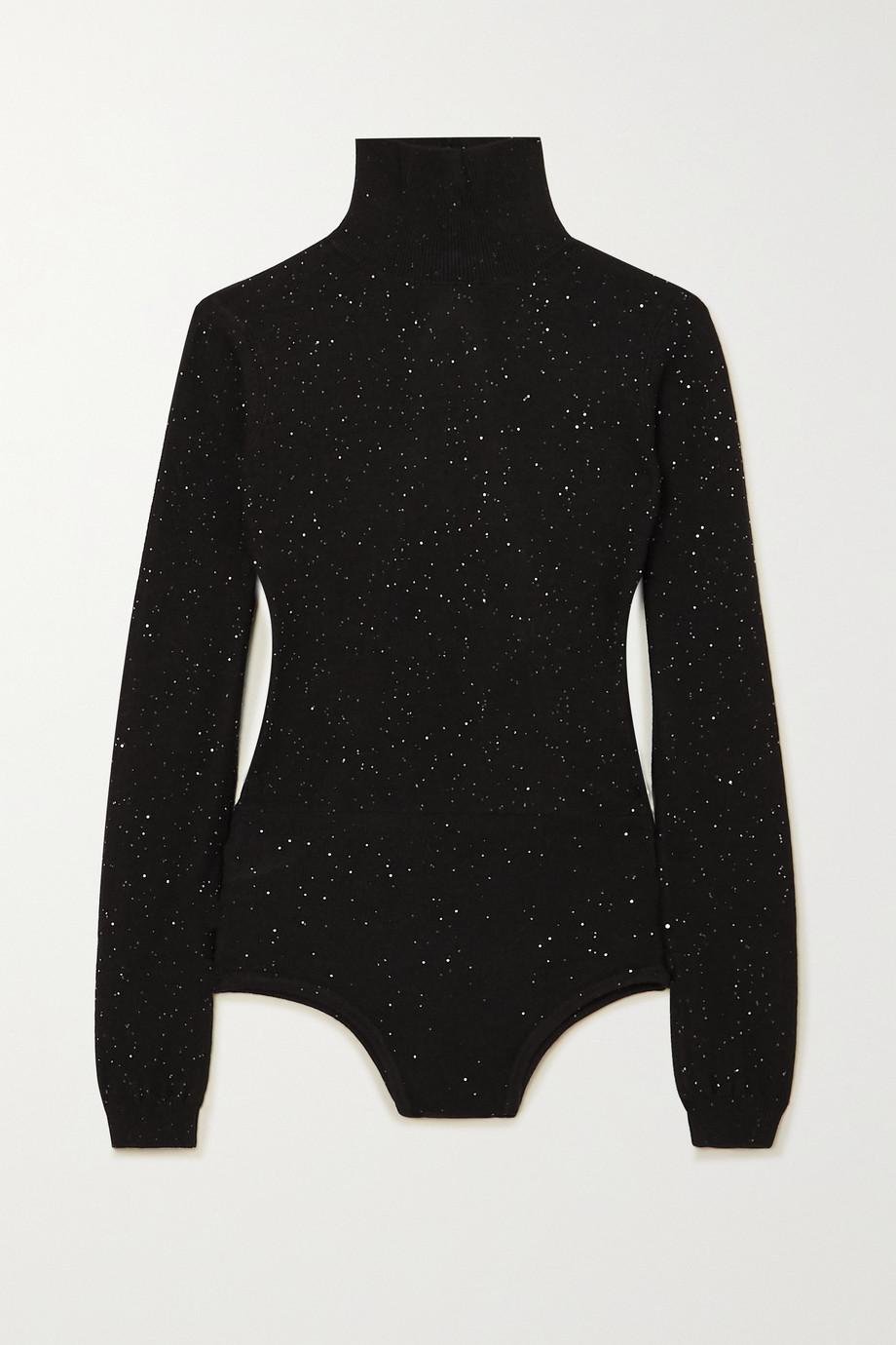 AREA Open-back sequined wool-blend turtleneck bodysuit