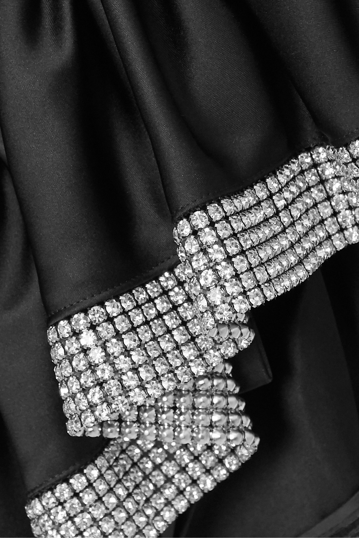 AREA Crystal-embellished ruffled satin mini skirt