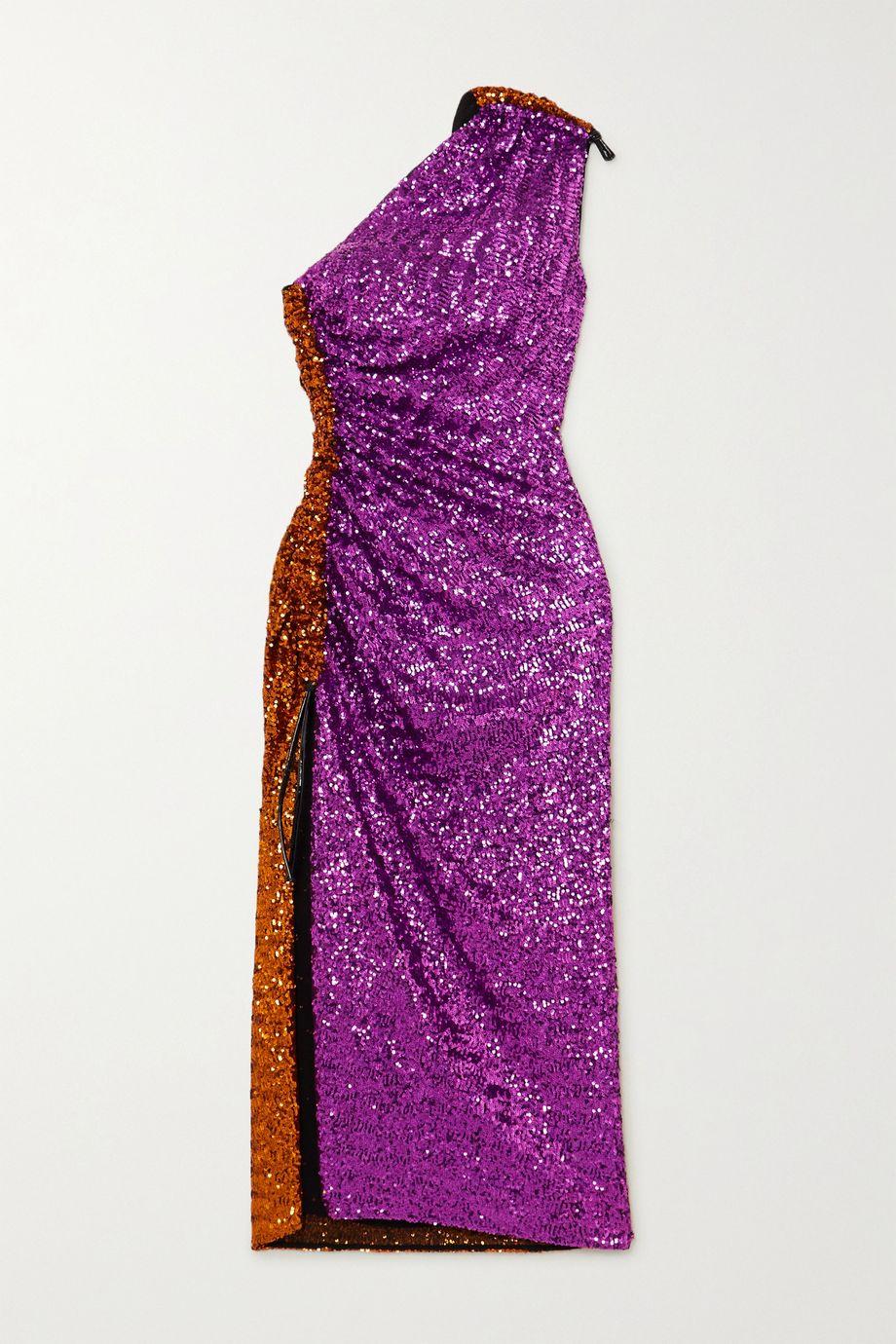 16ARLINGTON Rogers one-shoulder sequined chiffon midi dress