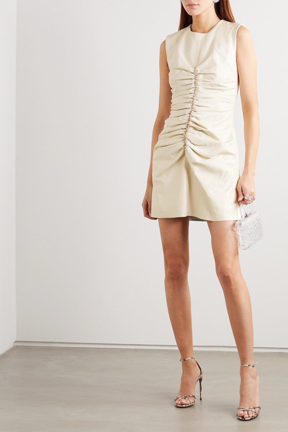 16ARLINGTON Errol ruched leather mini dress