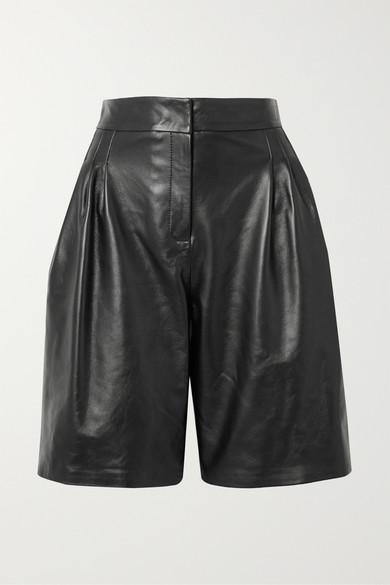 16ARLINGTON - Grant Leather Shorts - Black