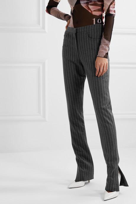 Wallis pinstriped woven slim-leg pants