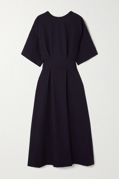 LVIR - Reversible Belted Cloque Midi Dress - Navy