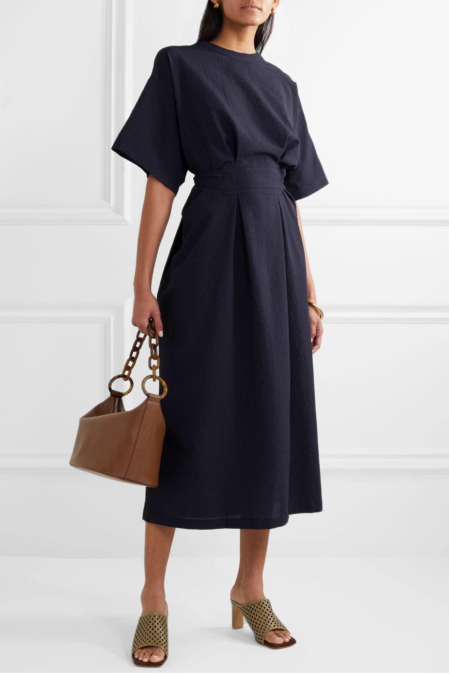 LVIR Reversible belted cloqué midi dress