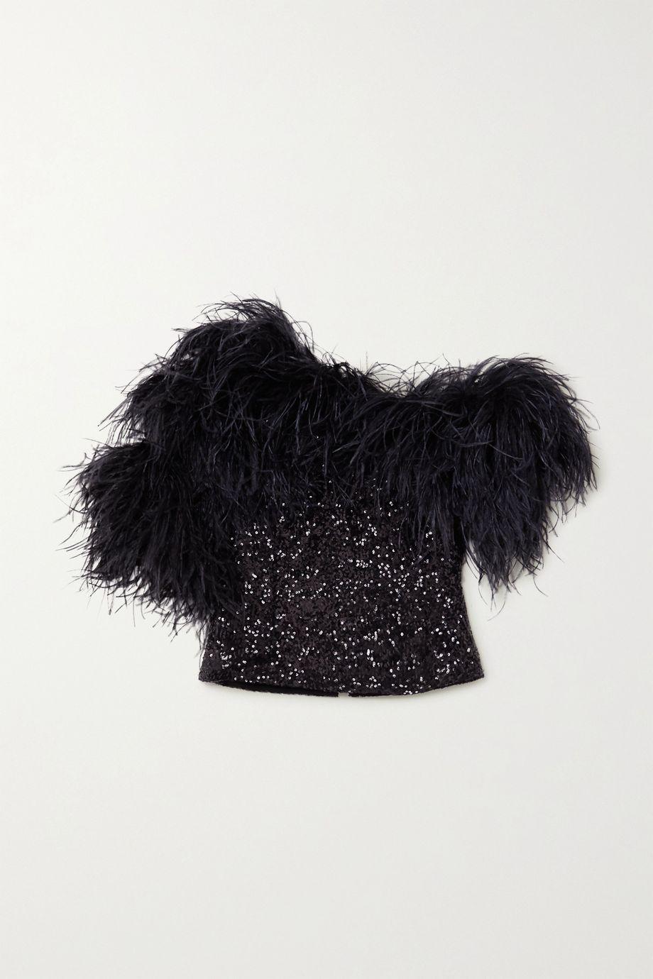 16ARLINGTON Vivien feather-trimmed sequined crepe top