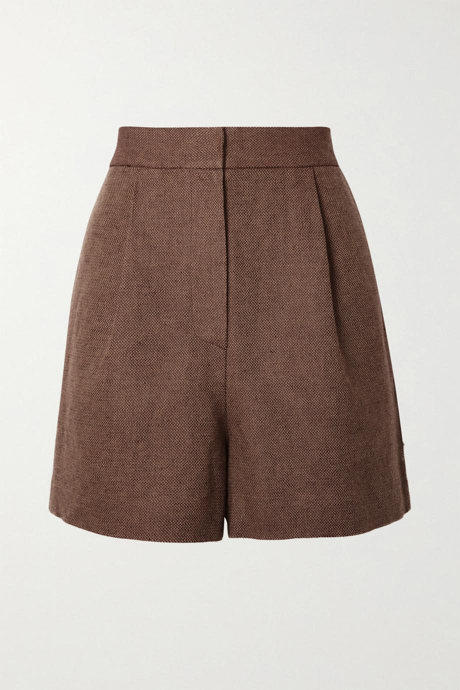 LVIR Pleated linen and cotton-blend piqué shorts