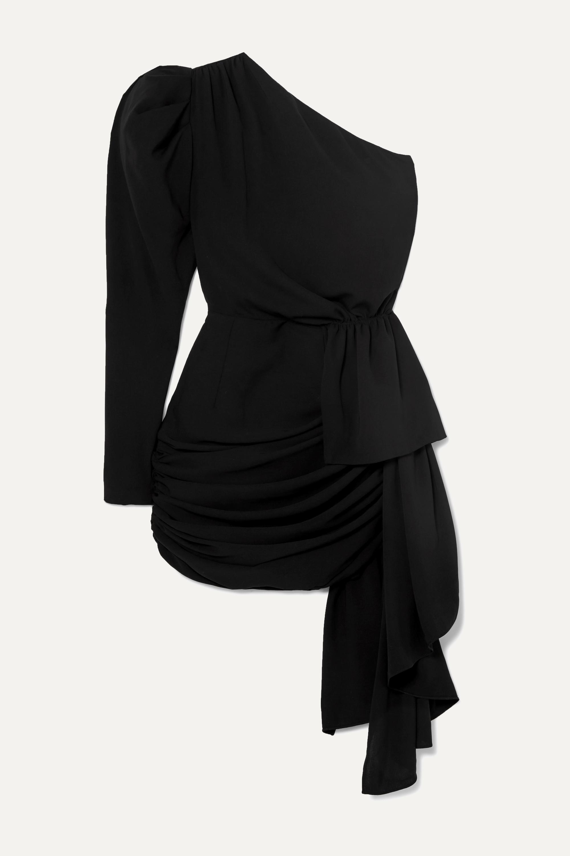 16ARLINGTON One-sleeve draped crepe mini dress