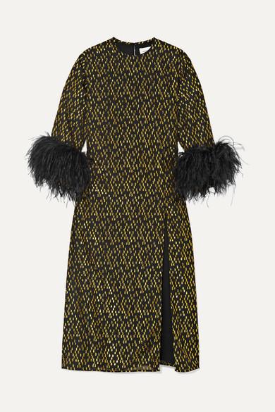 billie-feather-trimmed-fil-coupé-crepe-midi-dress by 16arlington