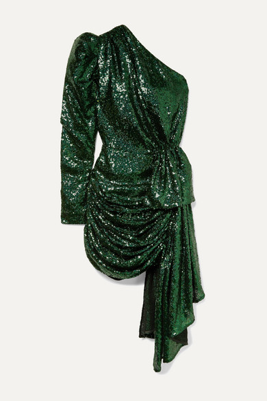 16ARLINGTON - One-sleeve Draped Sequined Tulle Mini Dress - Green