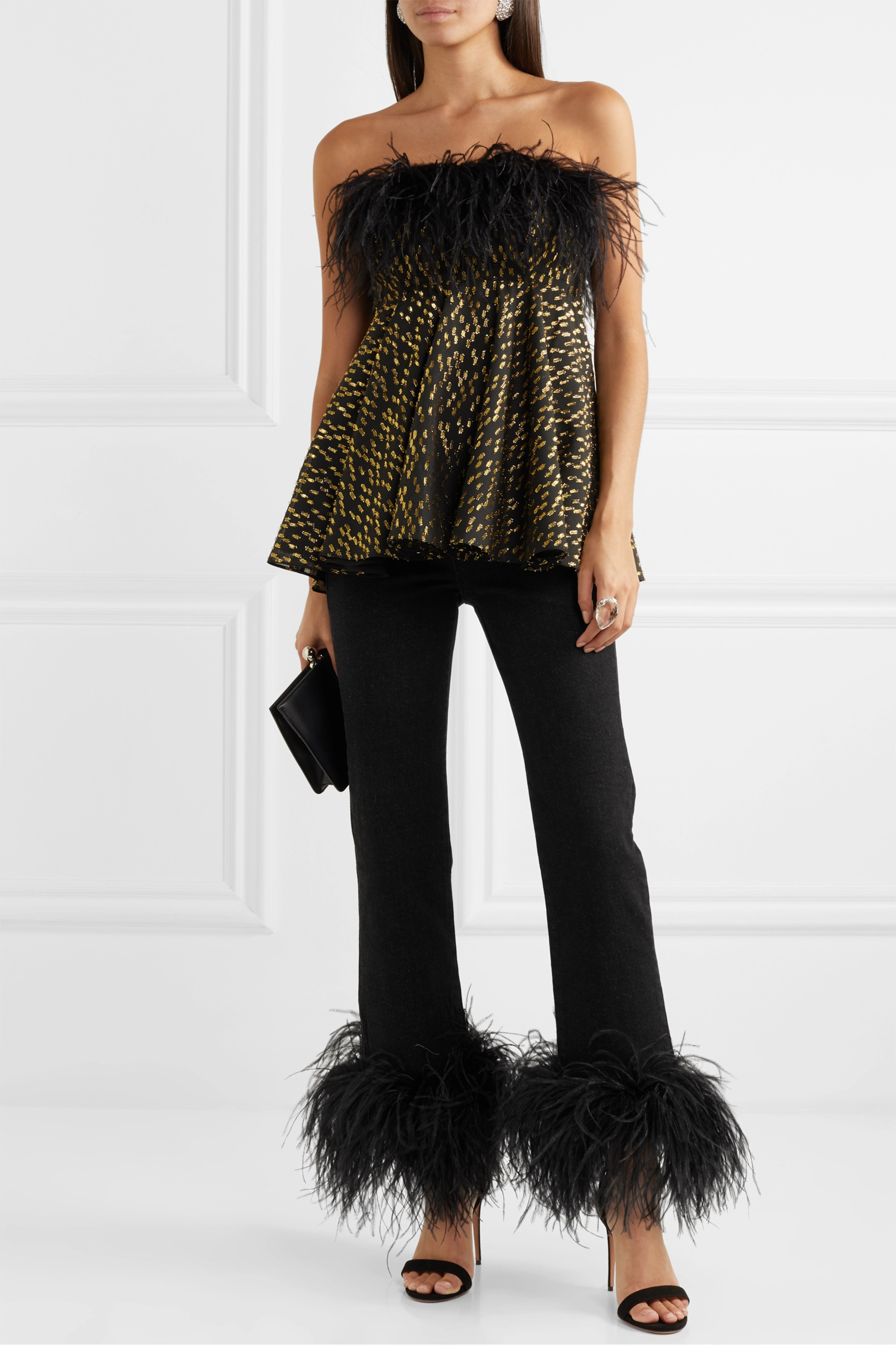 16ARLINGTON Feather-trimmed high-rise straight-leg jeans