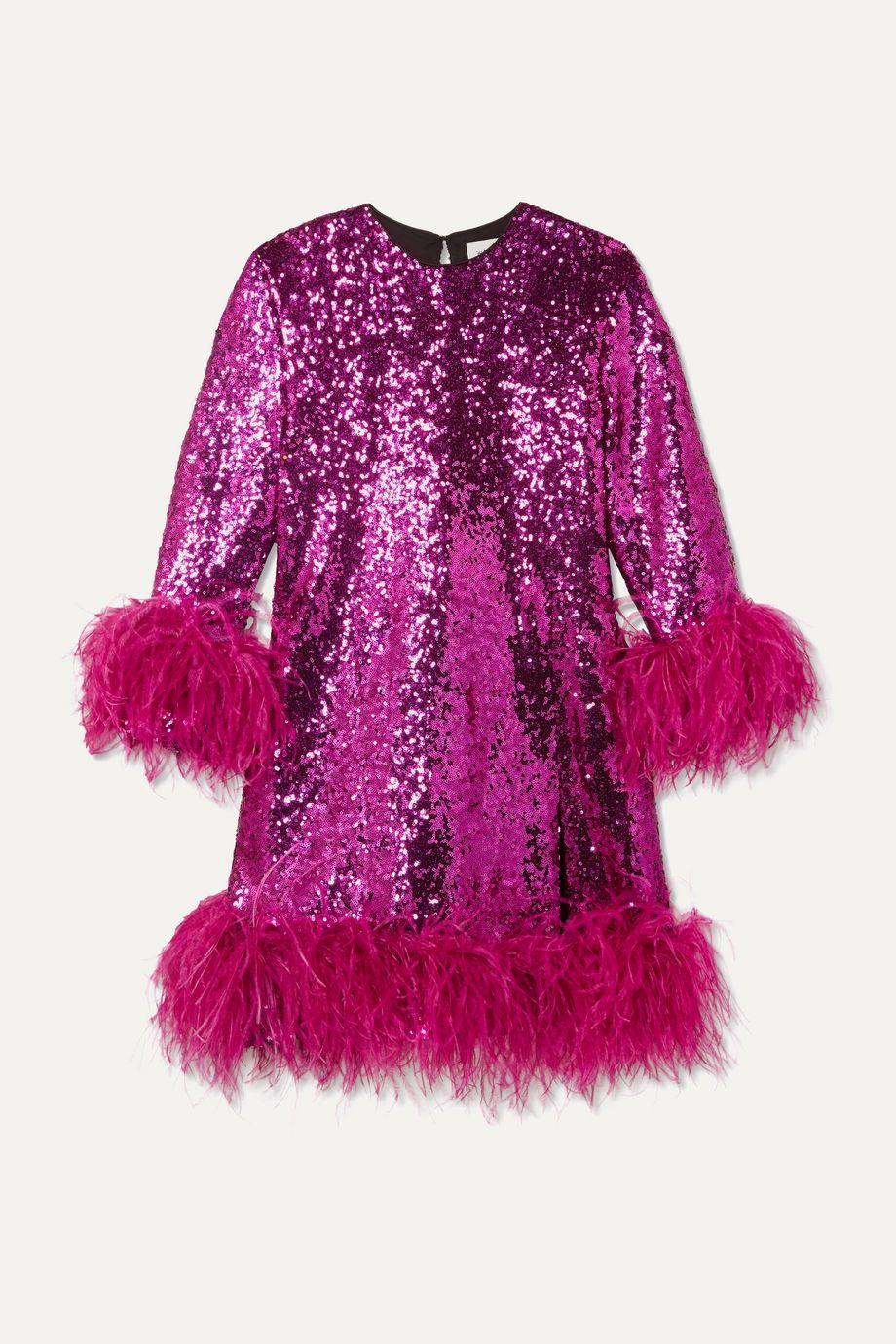 16ARLINGTON Feather-trimmed sequined crepe mini dress