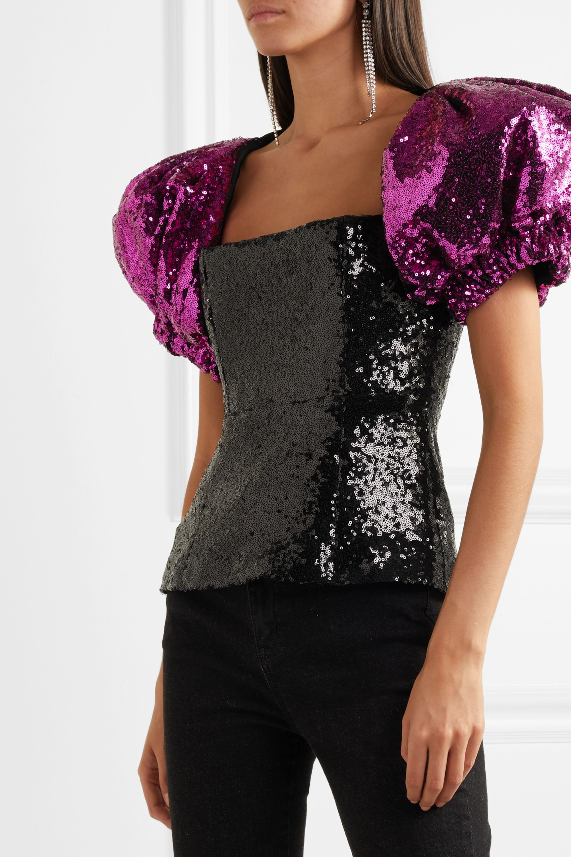 16ARLINGTON Two-tone sequined crepe top