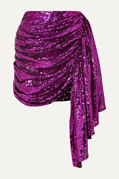 Draped Sequined Tulle Mini Skirt by 16 Arlington