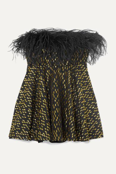 16ARLINGTON - Strapless Feather-trimmed Fil Coupé Georgette Peplum Top - Black