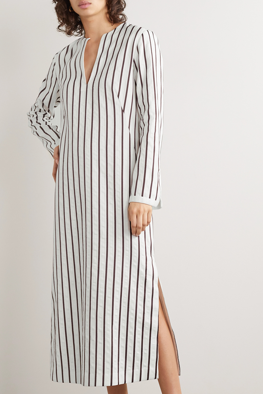 Loro Piana Striped cotton-blend jacquard midi dress