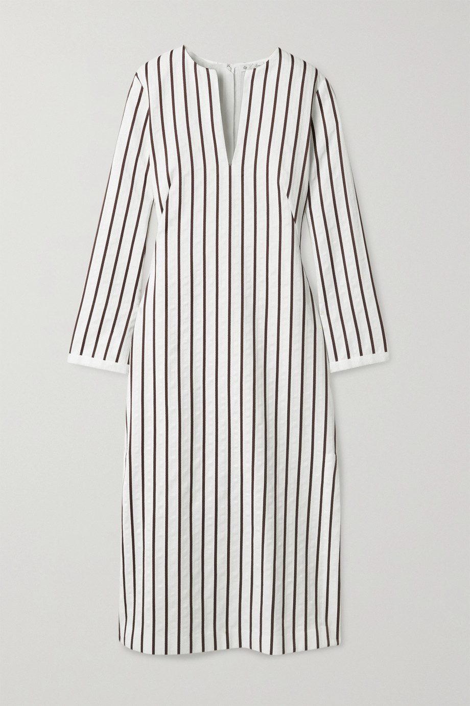 Loro Piana Striped cotton-blend jacquard midi dress