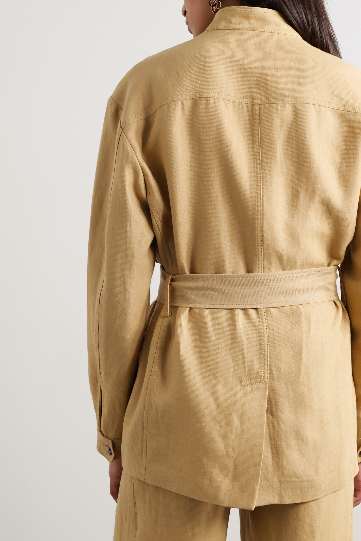 Beige Belted Linen Jacket | Loro Piana