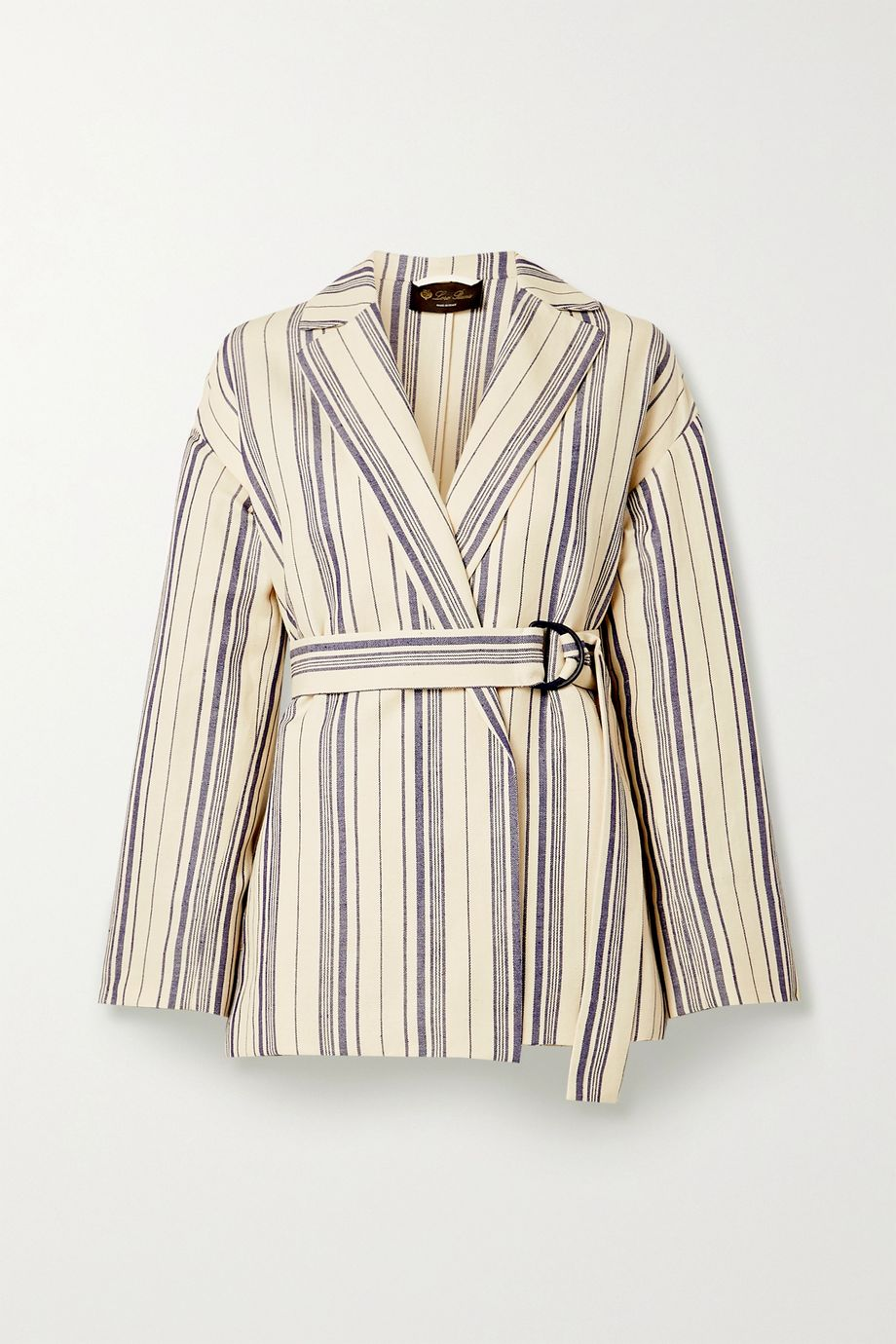 Loro Piana Belted striped cotton-blend jacket