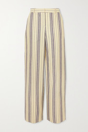 Striped cotton-blend straight-leg pants