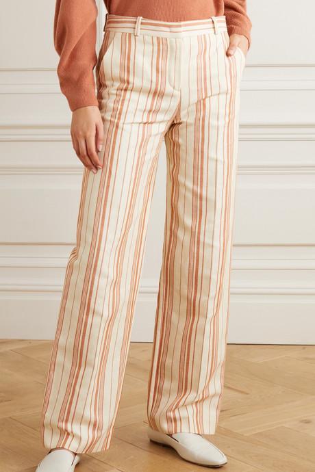 Striped cotton-blend straight-leg pants