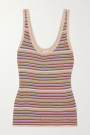 Love Stories Josey striped metallic knitted tank