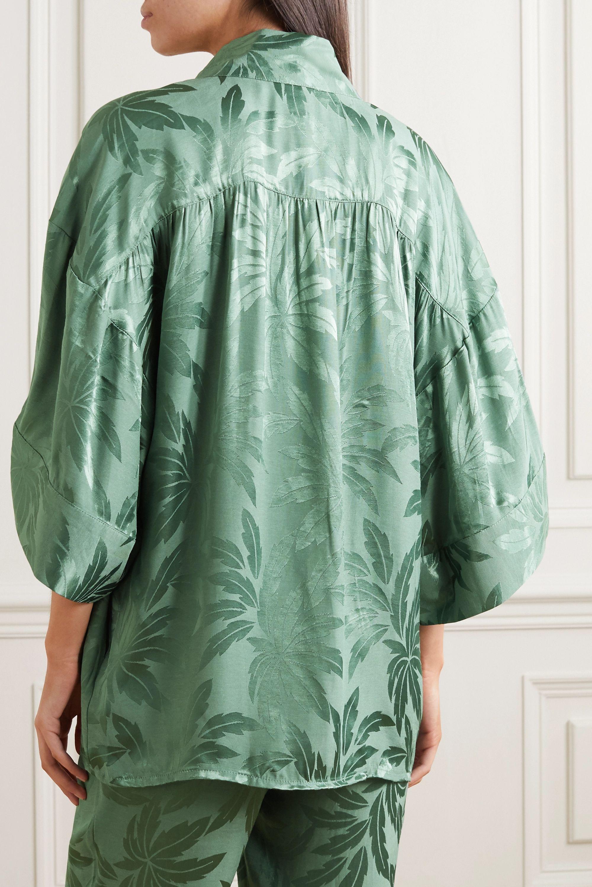 Love Stories Suki cropped satin-jacquard robe