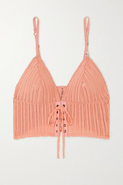 Love Stories Dawn lace-up pointelle-knit bralette