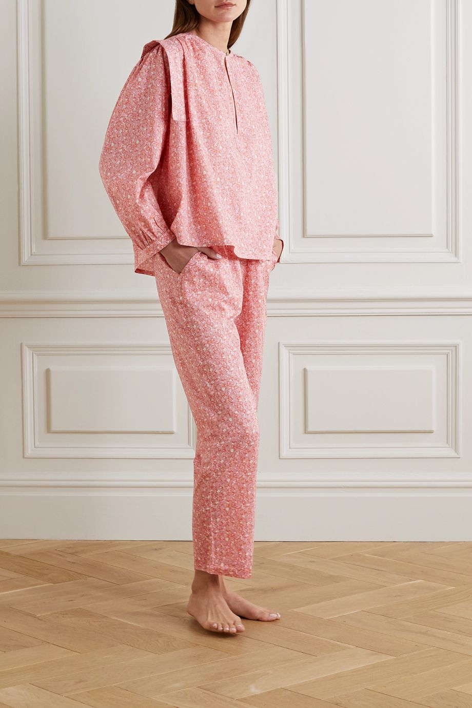 Love Stories Lois printed cotton-voile pajama top