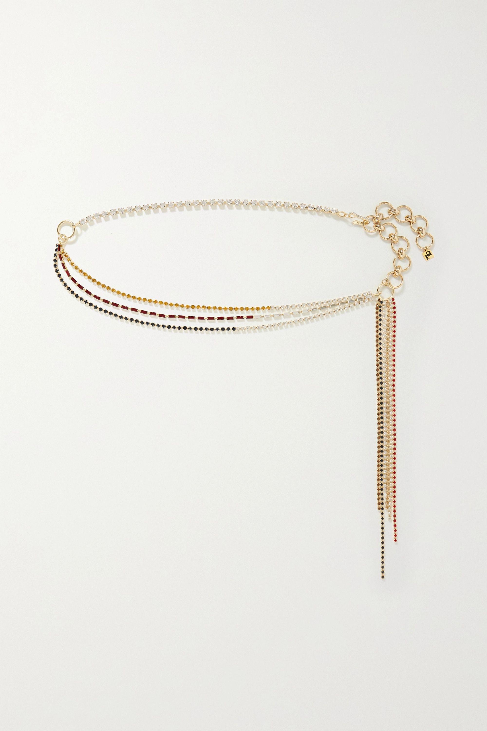 Rosantica Iside 水晶缀饰金色腰带