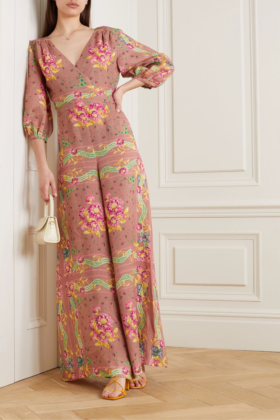 Paul & Joe Wrap-effect floral-print linen jumpsuit