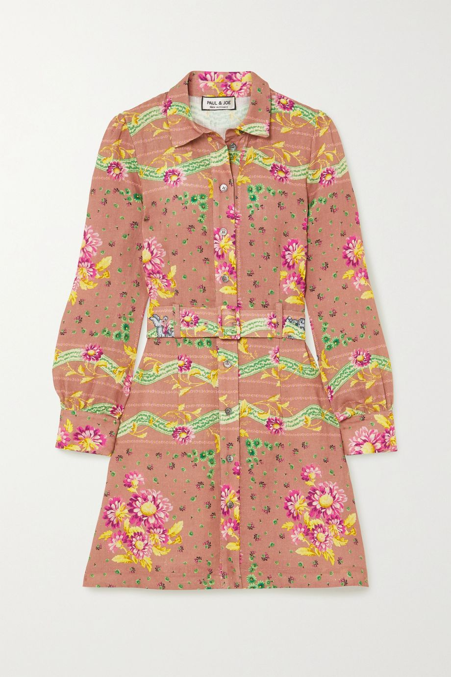 Paul & Joe Belted floral-print linen mini shirt dress