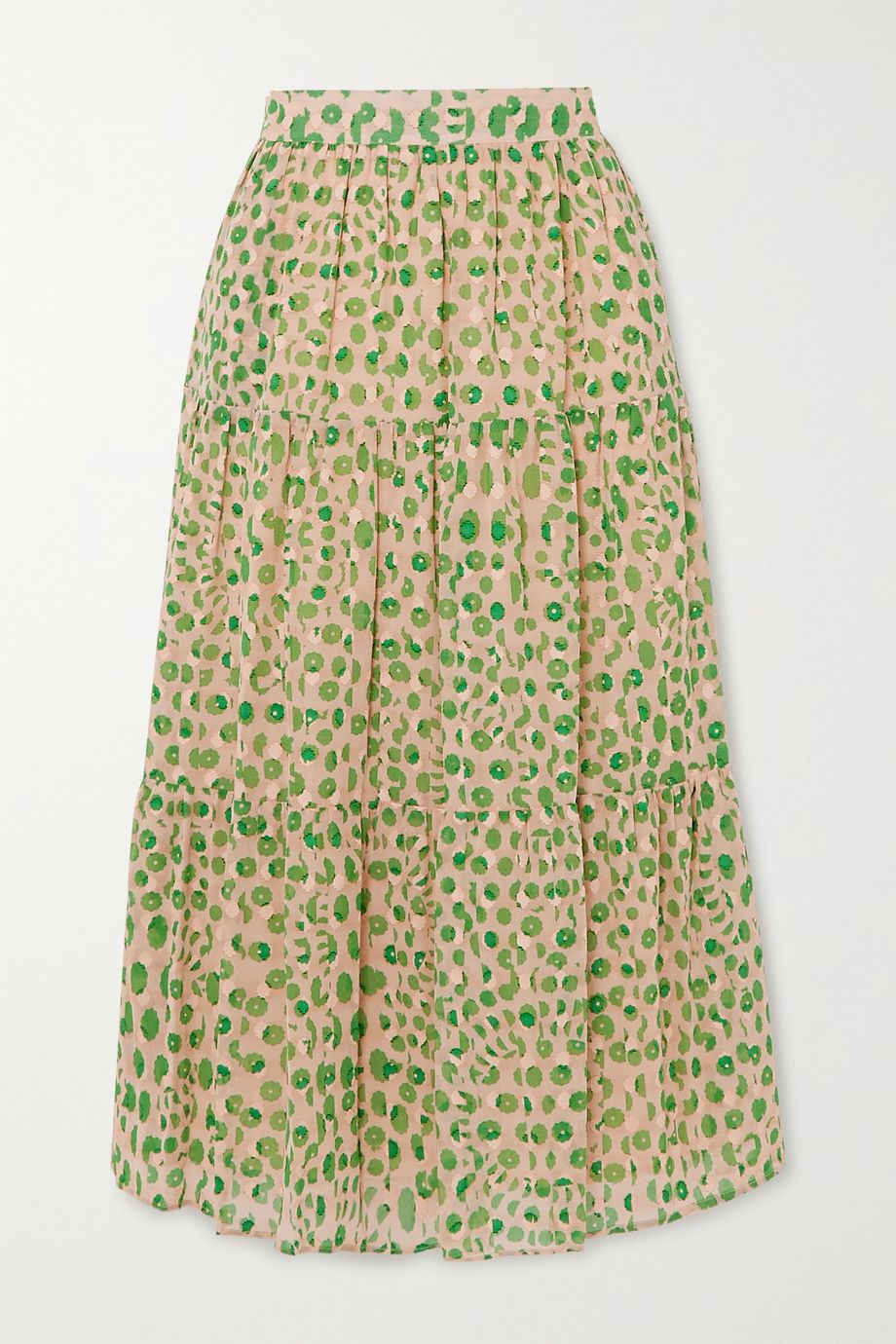 Paul & Joe Basilic tiered floral-print cotton midi skirt