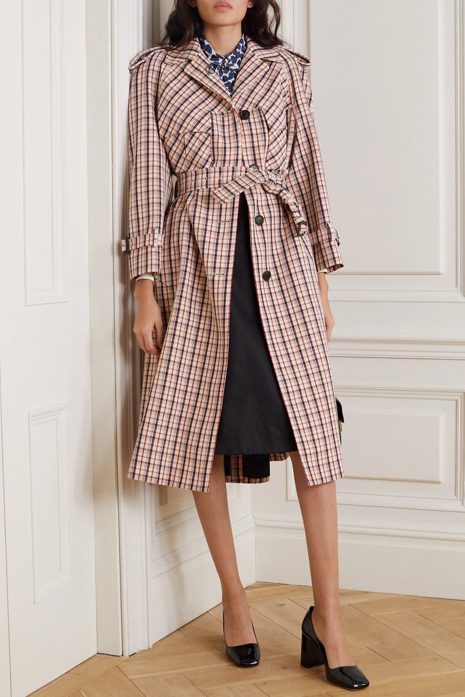 Prada Checked wool trench coat