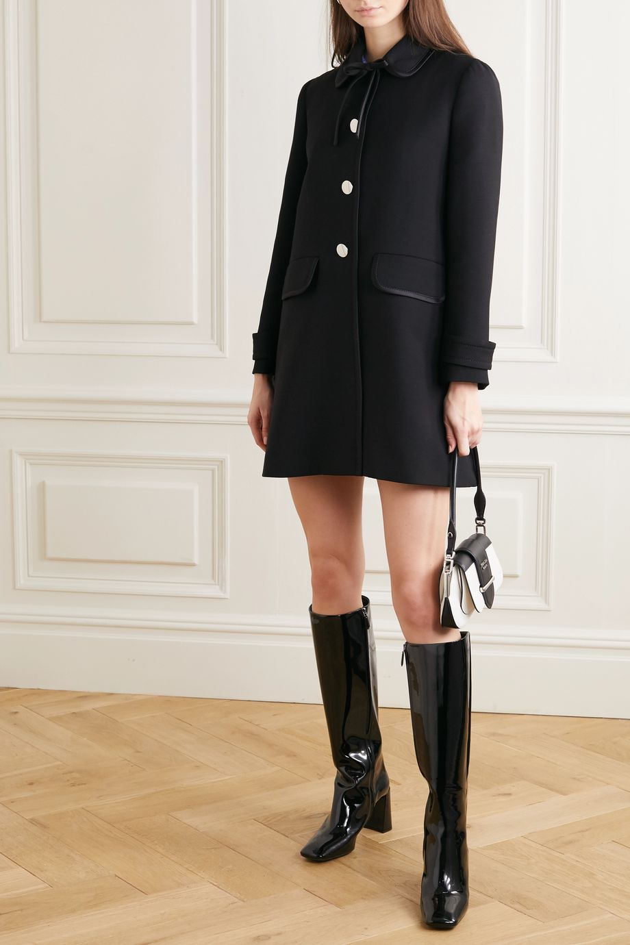 Prada Bow-detailed satin-trimmed wool coat