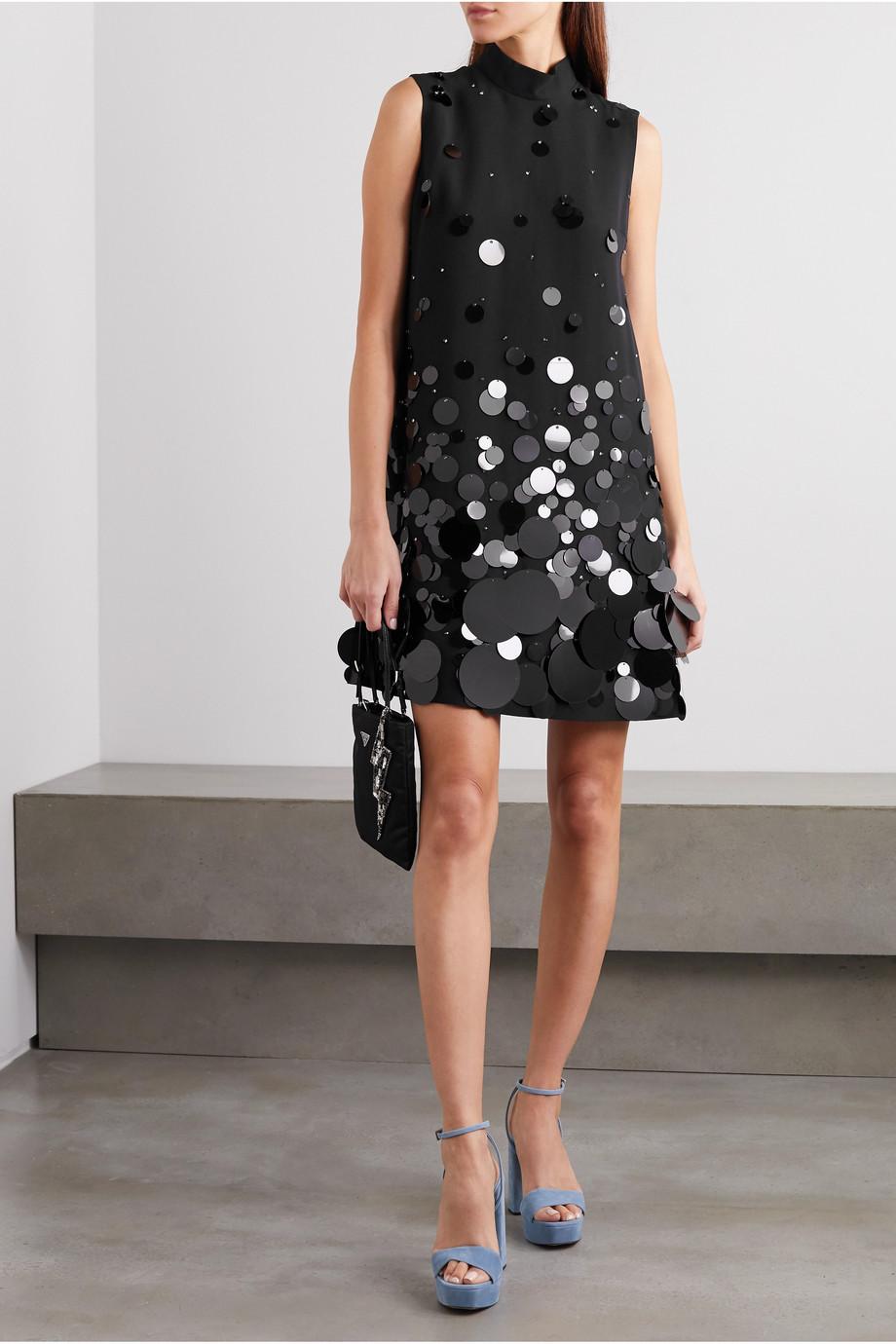 Prada Mini-robe en cady à paillettes