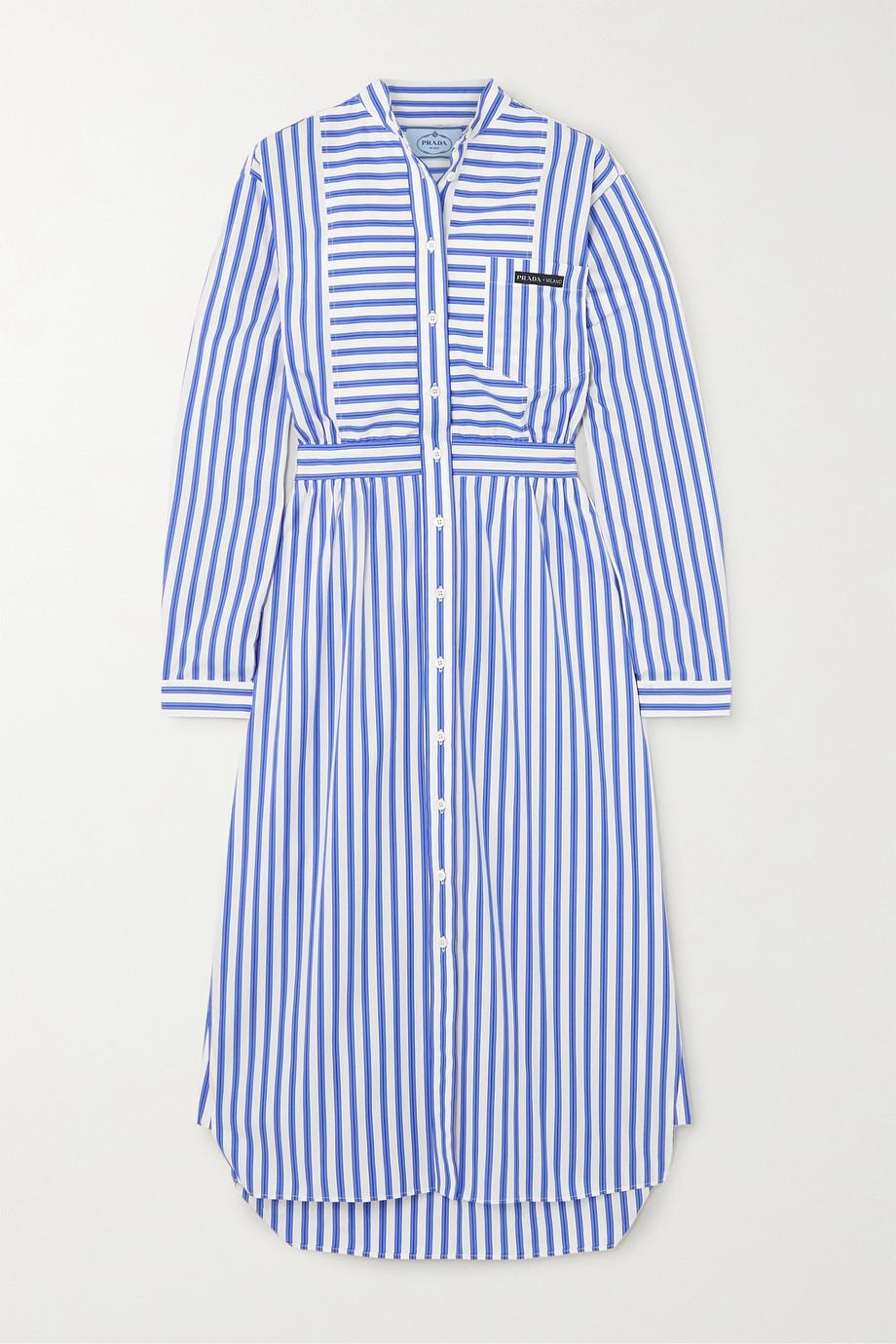 Prada Striped cotton-poplin midi dress
