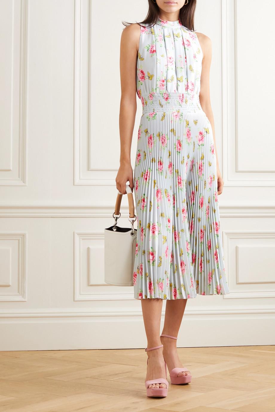 Prada Pleated floral-print crepe midi dress