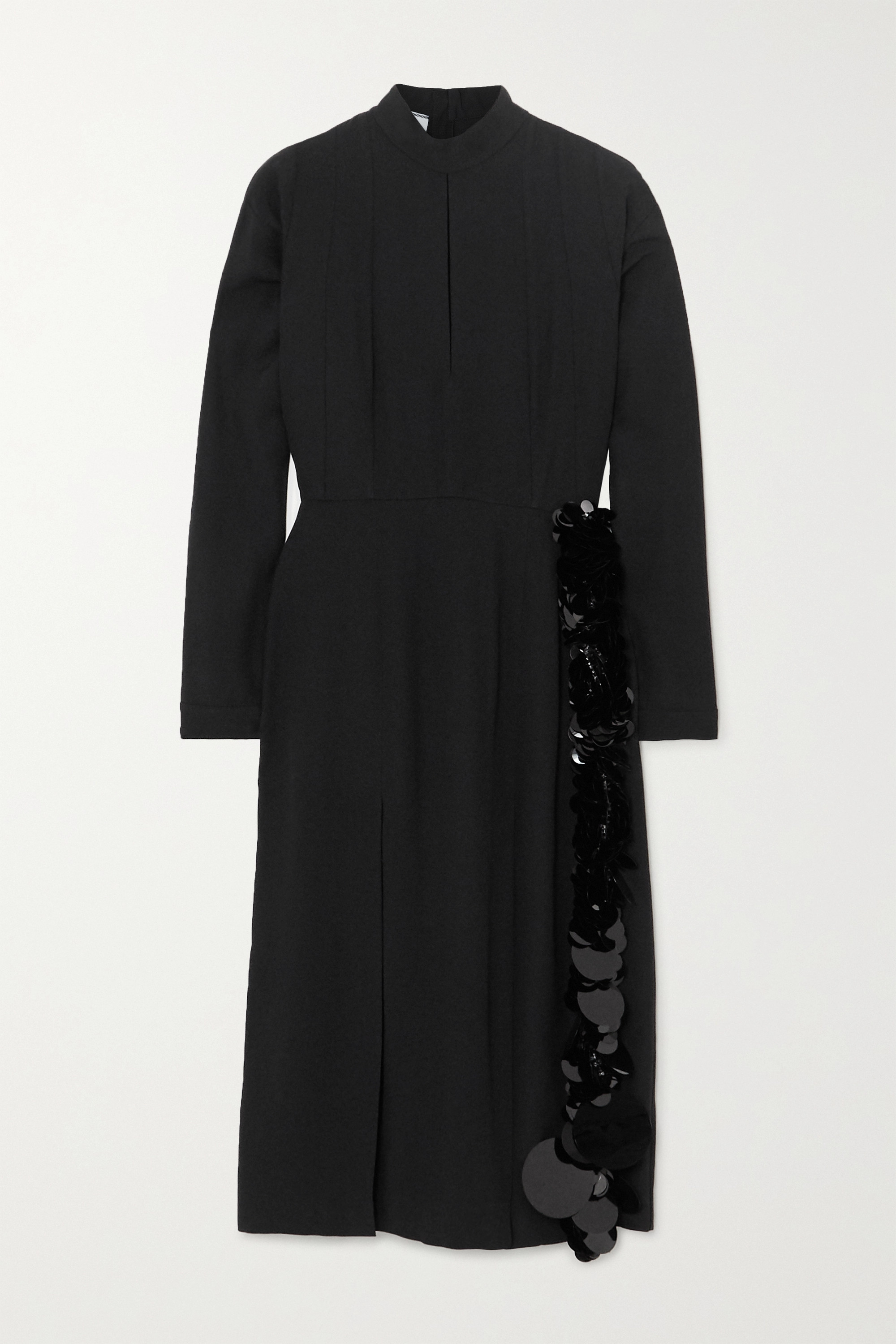 Prada Paillette and bead-embellished crepe midi dress