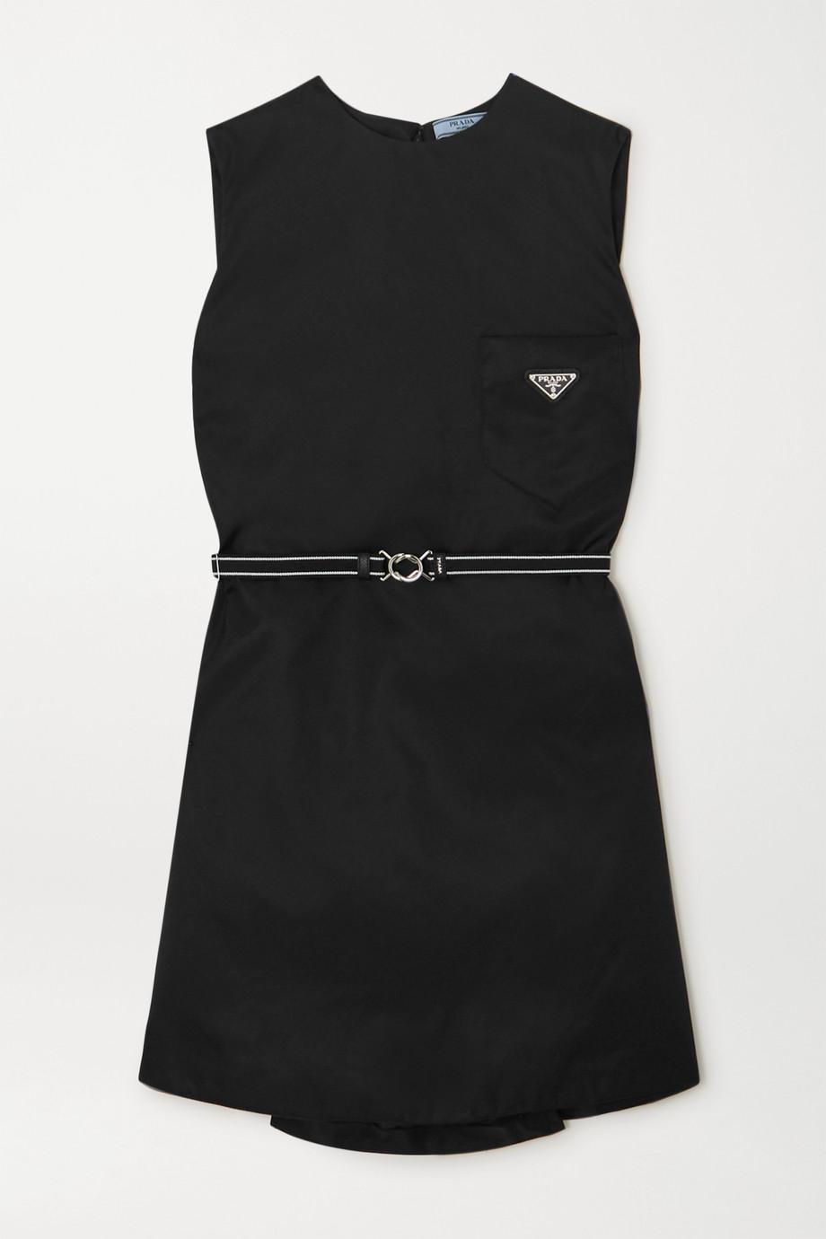 Prada Mini-robe en nylon à ceinture et à appliqué