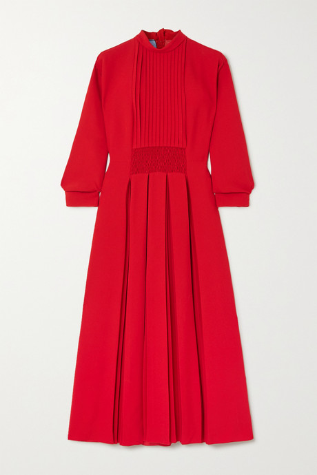 Red Pleated shirred crepe midi dress | Prada 15RSSn