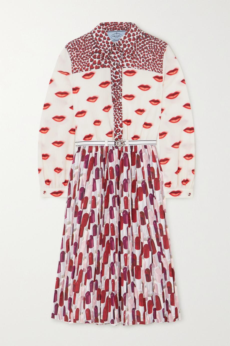 Prada Robe midi en crêpe de Chine imprimé à plis et à ceinture
