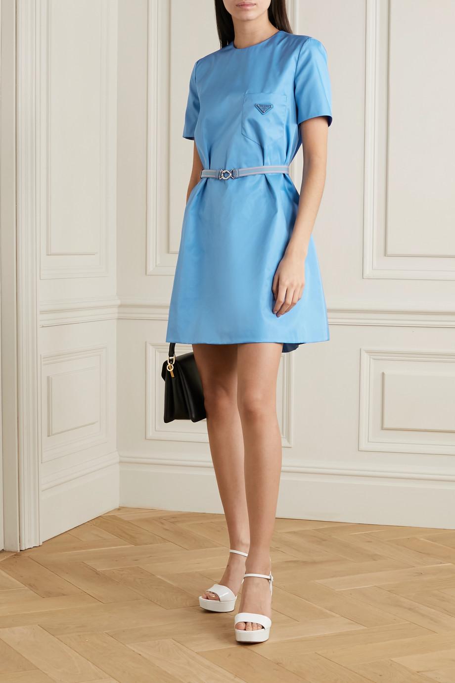 Prada Belted appliquéd nylon mini dress