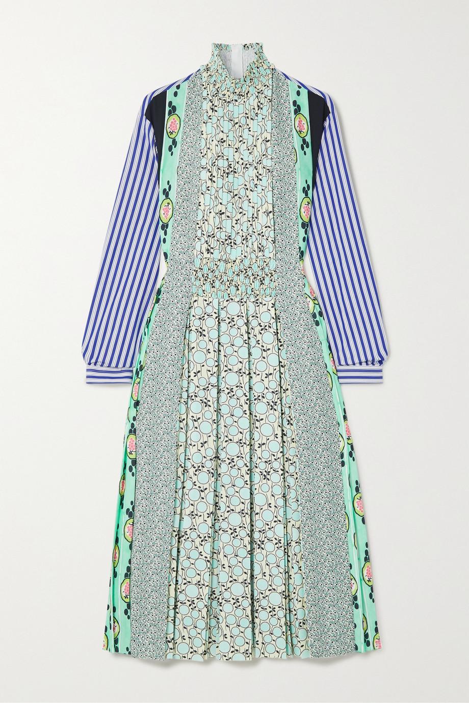 Prada Pintucked pleated printed cotton-poplin and crepe de chine midi dress