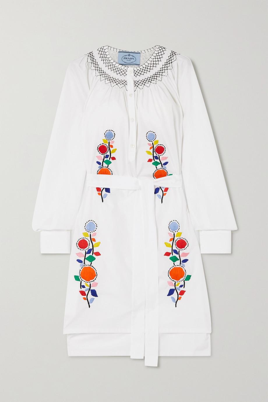 Prada Kleid aus Baumwollpopeline mit Stickereien